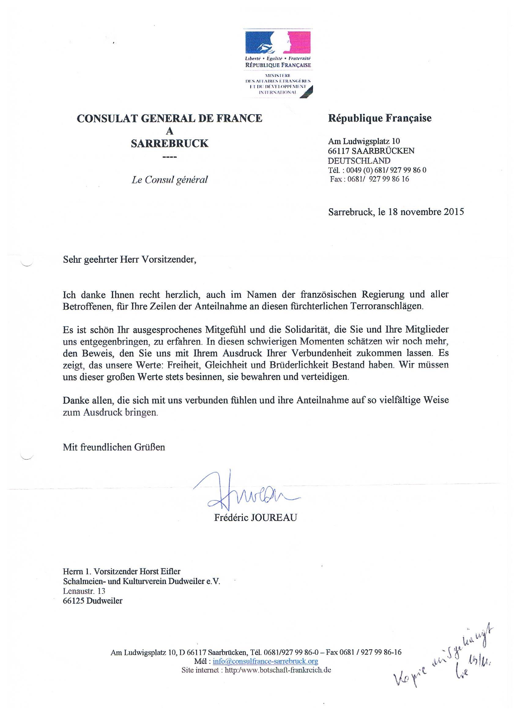 Antwort des französischen Generalkonsulates